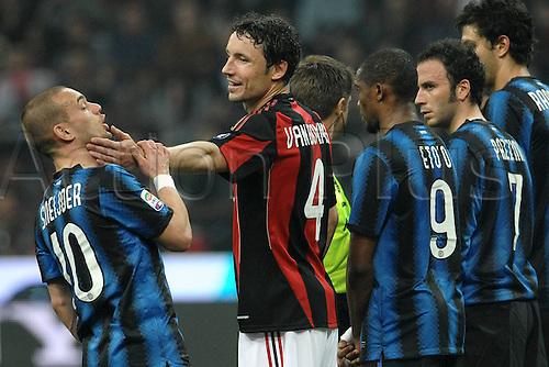 02 04 2011  Wesley Sneijder and Mark van Bommel Milano  Stadio Giuseppe Meazza San Siro  Series A AC Milan versus Inter Milan.