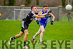In Action Ardfert's  and Ballymac's Daniel O'Shea at the Senior Football League Div 3 Round 11 Ballymacelligott V Ardfert at Ballymacelligott GAA on Sunday