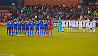 HOUSTON, TX - JANUARY 28: The national teams of the United States and Haiti have a moment of silence during a game between Haiti and USWNT at BBVA Stadium on January 28, 2020 in Houston, Texas.