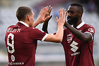 Andrea Belotti of Torino FC  celebrates with Nicolas N'Koulou of Torino FC after scoring the goal of 1-0 <br /> during the Serie A football match between Torino FC and SS Lazio at stadio Olimpico in Turin ( Italy ), June 30th, 2020. Play resumes behind closed doors following the outbreak of the coronavirus disease. <br /> Photo Image Sport / Insidefoto