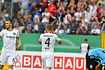 11.08.2019, Carl-Benz-Stadion, Mannheim, GER, DFB Pokal, 1. Runde, SV Waldhof Mannheim vs. Eintracht Frankfurt, <br /> <br /> DFL REGULATIONS PROHIBIT ANY USE OF PHOTOGRAPHS AS IMAGE SEQUENCES AND/OR QUASI-VIDEO.<br /> <br /> im Bild: Ante Rebic (Eintracht Frankfurt #4) jubelt mit Filip Kostic (Eintracht Frankfurt #10) ueber das Tor zum 3:5<br /> <br /> Foto © nordphoto / Fabisch