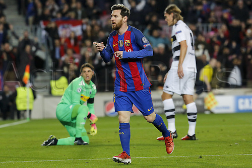 06.12.2016. Nou Camp, Barcelona, Spain, UEFA Champions League group stages. FC Barcelona versus Borrusia Moenchengladbach.  Barcelonas Lionel Messi celebrates as he scores during the UEFA Champions League match against Borussia Monchengladbach