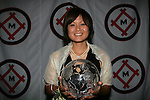 11 January 2008:  Mami Yamaguchi (Japan) of Florida State holds her 2007 Hermann Trophy.....The 2007 Hermann Trophy was presented to the NCAA Division I female and male players of the year by the Missouri Athletic Club in St. Louis, Missouri.