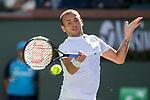 March 8, 2019: Daniel Evans (GBR) hits a forehand during his match where he was defeated by Stan Wawrinka (SUI) 6-7, 6-3, 6-3 at the BNP Paribas Open at the Indian Wells Tennis Garden in Indian Wells, California. ©Mal Taam/TennisClix/CSM
