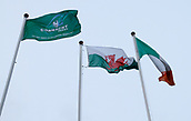 9th February 2018, Galway Sportsground, Galway, Ireland; Guinness Pro14 rugby, Connacht versus Ospreys; The Connacht, Wales and Ireland flags fly in The Sportsgrounds as Connacht welcome Ospreys to Galway