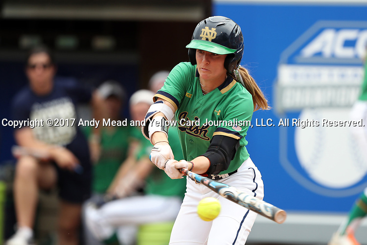 CHAPEL HILL, NC - MAY 11: Notre Dame's Karley Wester. The #4 Boston College Eagles played the #5 University of Notre Dame Fighting Irish on May 11, 2017, at Anderson Softball Stadium in Chapel Hill, NC in a 2017 Atlantic Coast Conference Tournament Quarterfinal Softball game. Notre Dame won the game 9-5 in eight innings.