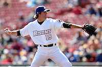 April 14, 2010:  Pitcher R.A. Dickey of the Buffalo Bisons delivers a pitch during a game at Coca-Cola Field in Buffalo, New York.  The Bisons are the Triple-A International League affiliate of the New York Mets.  Photo By Mike Janes/Four Seam Images