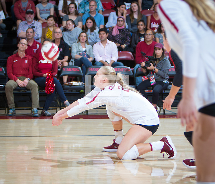STANFORD, CA - October 12, 2018: Kathryn Plummer at Maples Pavilion. No. 2 Stanford Cardinal swept No. 21 Washington State Cougars, 25-15, 30-28, 25-12.