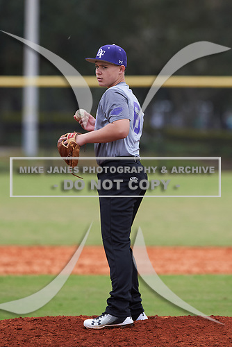 Vincent Valente (6) of Kissimmee, Florida during the Baseball Factory All-America Pre-Season Rookie Tournament, powered by Under Armour, on January 13, 2018 at Lake Myrtle Sports Complex in Auburndale, Florida.  (Michael Johnson/Four Seam Images)