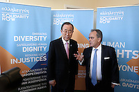 Pictured: Ban Ki-Moon (L) at the Solidarity Now group in Athens, Greece. Friday 17 June 2016<br /> Re: The United Nations secretary-general is visiting Greece, ahead of talks with government officials and a trip to the island of Lesbos, which is at the forefront of Greece's immigration crisis.<br /> Ban Ki-moon met with officials and volunteers at the Solidarity Now group, which helps victims of Greece's financial crisis and migrants stuck in the country.<br /> He has also visited Greek President Procopis Pavlopoulos before travelling camps on Lesbos island where 3,400 refugees and other migrants live.