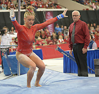 NWA Democrat-Gazette/ANDY SHUPE<br />Arkansas' Sarah Shaffer competes Friday, Jan. 12, 2018, in the bars portion of the 11th-ranked Razorbacks' meet with sixth-ranked Kentucky in Barnhill Arena in Fayetteville. Visit nwadg.com/photos to see more photographs from the meet.