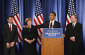 Chicago, IL - November 24, 2008 -- United States President-elect Barak Obama (C) introduces his economic team during a news conference on Monday, November 24, 2008 in Chicago. Obama named Treasury Secretary-designate Timothy Geithner, (from left) Council of Economic Advisers Chair-designate Christina Romer and National Economic Council Director-designate Lawrence Summers. .Credit: Brian Kersey - Pool via CNP