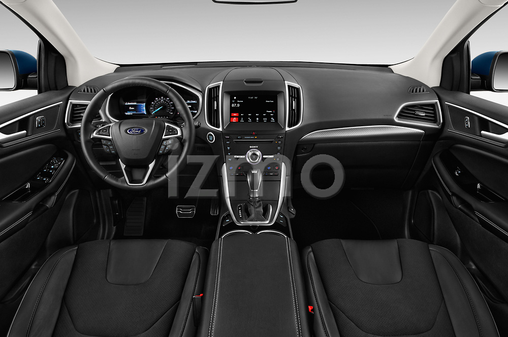 Stock photo of straight dashboard view of 2018 Ford Edge Sport 5 Door SUV