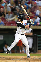 Kane County Cougars second baseman Danny Lockhart (7) at bat during a game against the Quad Cities River Bandits on August 14, 2014 at Third Bank Ballpark in Geneva, Illinois.  Kane County defeated Quad Cities 4-1.  (Mike Janes/Four Seam Images)