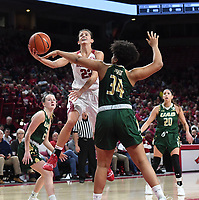 NWA Democrat-Gazette/J.T. WAMPLER Arkansas' Bailey Zimmerman goes in for a layup against University of Alabama at Birmingham's Imani Johnson Sunday March 24, 2019 at Bud Walton Arena in Fayetteville during the second round of the Women's National Invitational Tournament. Arkansas won 100-52 and takes on TCU Thursday night at home.