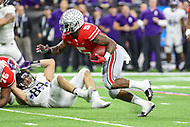 Indianapolis, IN - December 1, 2018: Ohio State Buckeyes running back Mike Weber (5) runs the ball during the Big Ten championship game between Northwestern  and Ohio State at Lucas Oil Stadium in Indianapolis, IN.   (Photo by Elliott Brown/Media Images International)