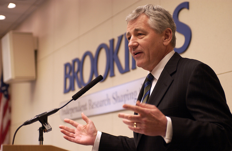 Senator Chuk Hagel during a meeting at Brookings on the the Kyoto Treaty in  Washington, D.C.