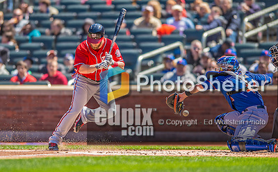 21 April 2013: Washington Nationals outfielder Bryce Harper avoids a pitch in the dirt during a game against the New York Mets at Citi Field in Flushing, NY. The Mets shut out the visiting Nationals 2-0, taking the rubber match of their 3-game weekend series. Mandatory Credit: Ed Wolfstein Photo *** RAW (NEF) Image File Available ***