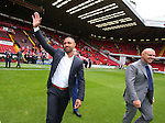 Kell Brook waves to the fans ) with Dominic Ingle during the League One match at Bramall Lane Stadium, Sheffield. Picture date: September 17th, 2016. Pic Simon Bellis/Sportimage