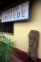 Pre-Columbian stone statue outside the Museo Ometepe, Altagracia, Isla de Ometepe, Nicaragua
