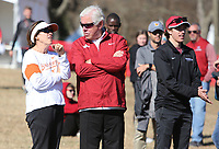 NWA Democrat-Gazette/DAVID GOTTSCHALK University of Arkansas Women's Cross Country coach (right) during the awards ceremony Friday, November 15, 2019, at the finish of the NCAA South Regional at the Agri Park course in Fayetteville. The Razorback women won the overall team title.