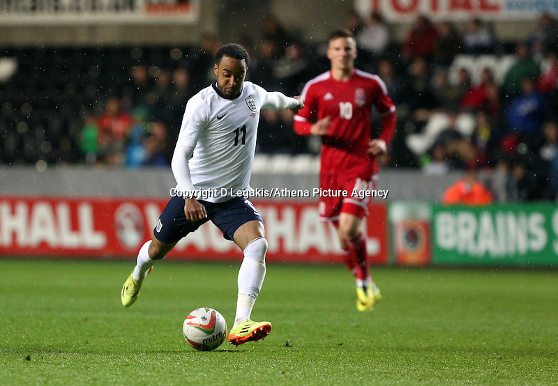 Pictured: Nathan Redmond of England takes a shot at goal. Monday 19 May 2014<br /> Re: UEFA Euro Under-21 Qualifier, Wales v England at the Liberty Stadium, Swansea, south Wales, United Kingdom