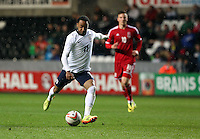 Pictured: Nathan Redmond of England takes a shot at goal. Monday 19 May 2014<br />