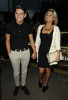 Joey Essex & Sam Faiers.attended the Kensington Club new boutique nightclub launch party, The Kensington Club, High Street Kensington, London, England,.20th July 2012..full length black dress white blazer jacket couple towie clutch bag shirt  belt hermes ankle boots grey gray trousers .CAP/CAN.©Can Nguyen/Capital Pictures.