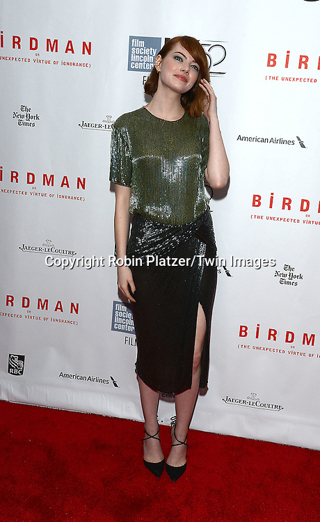 Emma Stone  attends &quot;Birdman or The Unexpected Virtue of Ignorance&quot; screening at The 52nd New York Film Festival on October 11, 2014 at Alice Tully Hall in New York City. <br /> <br /> photo by Robin Platzer/Twin Images<br />  <br /> phone number 212-935-0770