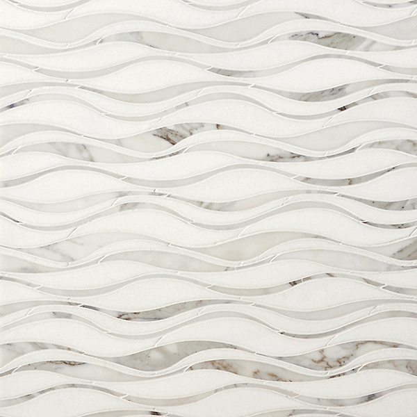 Oasis, a waterjet stone mosaic, shown in honed Thassos and polished Calacatta.