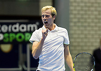 Rotterdam, Netherlands, December 18, 2016, Topsportcentrum, Lotto NK Tennis, Botec van de Zandschulp (NED) wint de National Championships and jubilates<br /> Photo: Tennisimages/Henk Koster