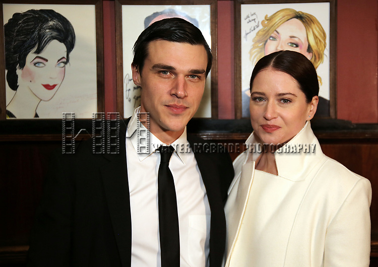 """Finn Wittrock and wife Sarah Roberts attend the Broadway Opening Night After Party for """"The Glass Menagerie'"""" at Sardi's on March 9, 2017 in New York City."""