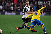 9th January 2018, Mestalla Stadium, Valencia, Spain; Copa del Rey football, round of 16, second leg, Valencia versus Las Palmas; Lato, left defender for Valencia CF duels for a ball with Tana for Las Palmas