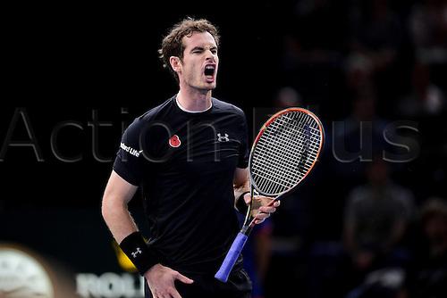 06.11.2015. Paris, France BNP Paribas Master Tennis, Bercy. Semi-finals match between Andy Murray( GBR) and david Ferrrer. Murray celebrates a set won.