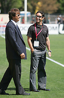 LA Sol Head Coach Abner Rogers (left) and FC Gold Pride Head Coach Albertin Montoya (right) talk before the game. Los Angeles Sol defeated FC Gold Pride 2-0 at Buck Shaw Stadium in Santa Clara, California on May 24, 2009.
