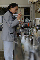 A member of staff making dye to dye wool. Oriental Carpet Mills, Yamanobe-machi, Yamagata, Japan, April 12, 2016. Oriental Carpet Mills was founded in 1935 and produces luxury hand-woven and tufted carpets. Its carpets are used all over the world, including in the Vatican, the Imperial Palace in Tokyo and the Kabukiza Kabuki Theatre.