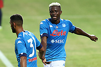 Faouzi Ghoulam of SSC Napoli celebrates with  Victor Osimhen after scoring a goal<br /> during the friendly football match between SSC Napoli and L Aquila 1927 at stadio Patini in Castel di Sangro, Italy, August 28, 2020. <br /> Photo Cesare Purini / Insidefoto
