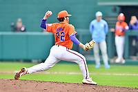 Clemson Tigers pitcher Jacob Hennessy (32) delivers a pitch during a game against the North Carolina Tar Heels at Doug Kingsmore Stadium on March 9, 2019 in Clemson, South Carolina. The Tigers defeated the Tar Heels 3-2 in game one of a double header. (Tony Farlow/Four Seam Images)