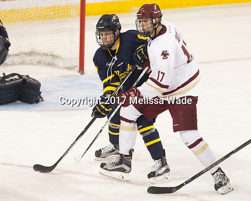 Alex Carle (Merrimack - 6), David Cotton (BC - 17) - The visiting Merrimack College Warriors defeated the Boston College Eagles 6 - 3 (EN) on Friday, February 10, 2017, at Kelley Rink in Conte Forum in Chestnut Hill, Massachusetts.