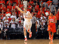 Virginia guard Paul Jesperson (2) reacts to a play during the game against Clemson Thursday in Charlottesville, VA.