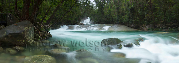 Josephine Falls - a popular freshwater swimming hole in Wooroonoonan National Park.   Innisfail, Queensland, Australia