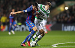 Luis Suárez of Barcelona  and Erik Sviatchenko of Celtic during the Champions League match at Celtic Park, Glasgow. Picture Date: 23rd November 2016. Pic taken by Lynne Cameron/Sportimage