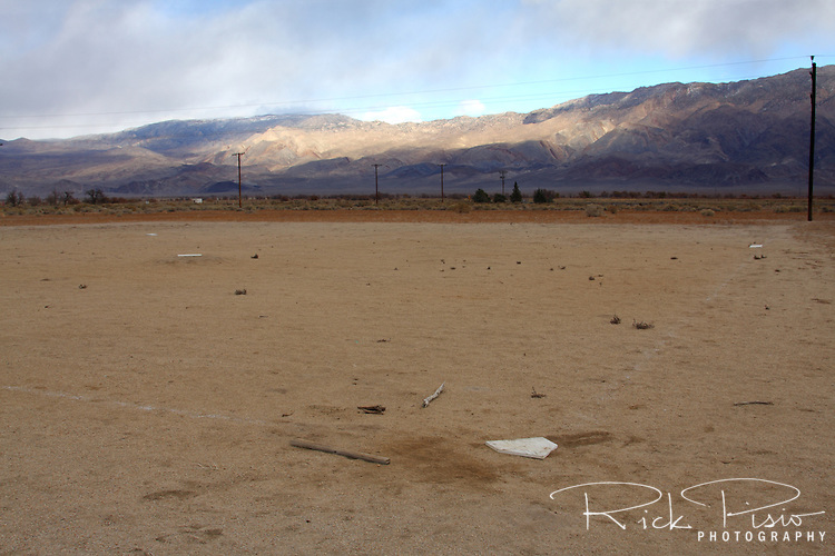Baseball diamond at the Manzanar National Historic Site in California's Owens Valley. Manzanar was the first of 10 relocation camps to be established after the attack on Pearl Harbor and held 10,046 prisoners at it's peak.