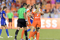 Houston, TX - Sunday Sept. 25, 2016: Carli Lloyd celebrates scoring, Kealia Ohai during a regular season National Women's Soccer League (NWSL) match between the Houston Dash and the Seattle Reign FC at BBVA Compass Stadium.