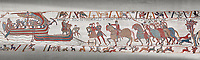 Bayeux Tapestry scene  6 - 7:  Harold is areested by Guy de Ponthieu for landing without permission.