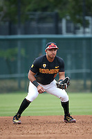 Adalberto Carrillo #8 of the Southern California Trojans during a game against the Coppin State Eagles at Dedeaux Field on February 18, 2017 in Los Angeles, California. Southern California defeated Coppin State, 22-2. (Larry Goren/Four Seam Images)