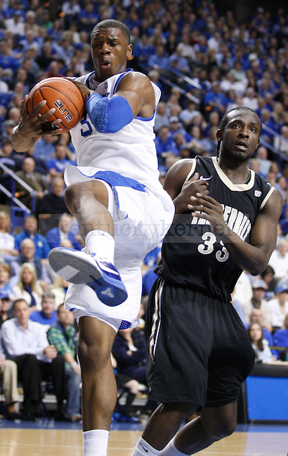 Freshman forward, Terrence Jones, rebounds the ball in the first half of the game against Vanderbilt on Tuesday, March 1, 2011. Photo by Latara Appleby | Staff