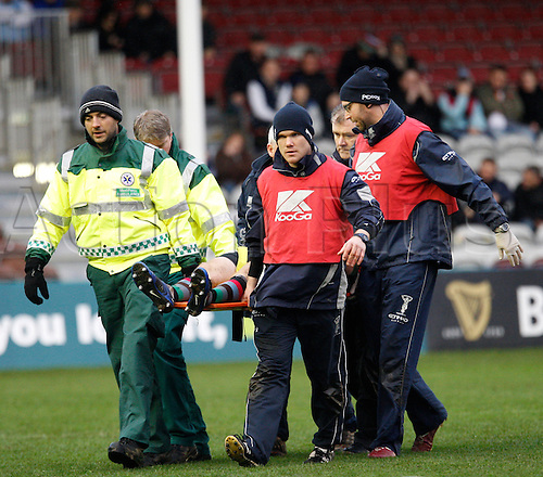 14.11.2010 Rugby Union from Twickenham Stoop. Harlequins v Newcastle Falcons. Harlequins Rory Clegg,  is taken off the pitch on a stretcher.