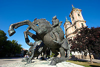 Statues in Dobo square and the Minorita Church, Eger, Hungary