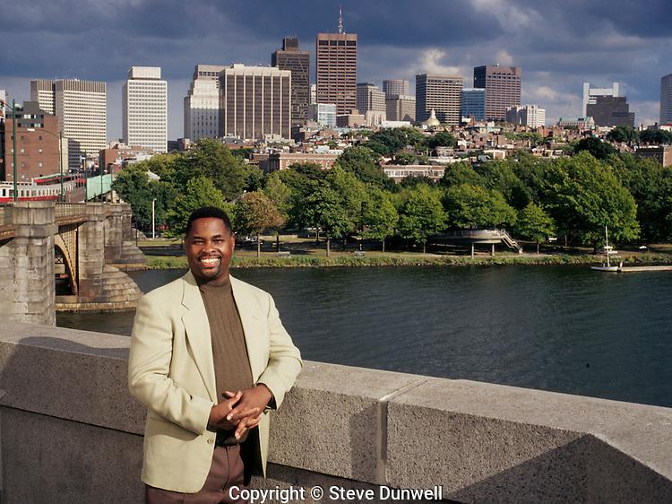 "Adrian Walker on Longfellow Bridge, Boston, MA for ""Black Enterprise"""
